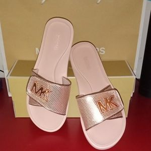 Rose Gold Michael Kors Palmer Mesh Slides